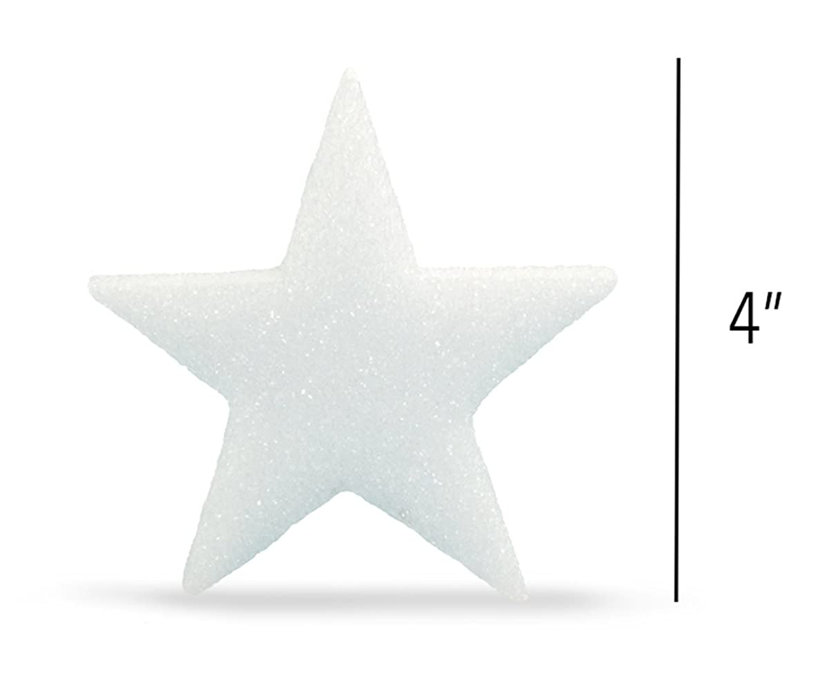 Hygloss Styrofoam Stars for Crafts and Decoration 4 Inches x ?? inch Thick, White, 12 Pieces, 4