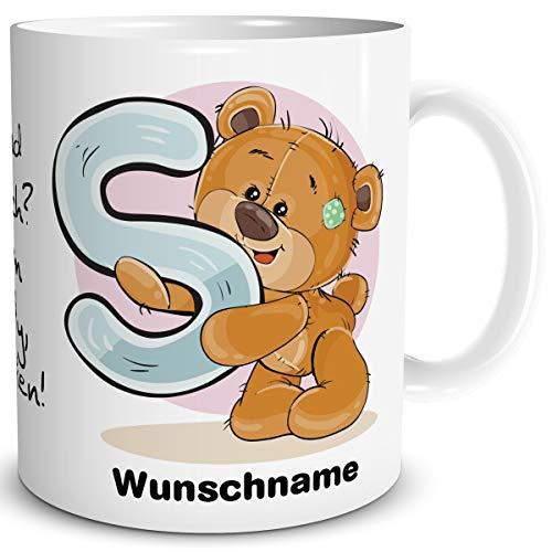 TRIOSK Tasse Bär Spruch lustig mit Namen personalisiert Bärchen Buchstabe S Teddy Bären Geschenk Bärenliebe für Frauen Freundin Büro