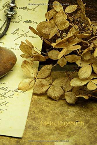 Price comparison product image Mein Tagebuch: Journal - Vintage-Motiv - Brief - Getrocknete Hortensienblüte - Taschenuhr - Insgesamt 135 Seiten - Maße ca. DIN A5