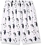 Lacrosse Shorts - Penguins with Lacrosse Sticks Pattern, Knee Length with Deep Pockets, Adult Medium White and Black