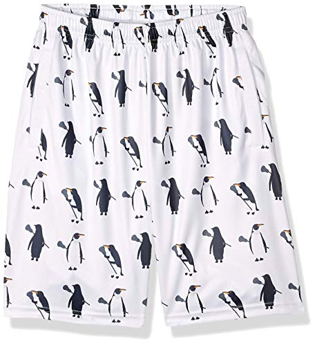 Lacrosse Shorts - Penguins with Lacrosse Sticks Pattern, Knee Length with Deep Pockets, Youth Large White