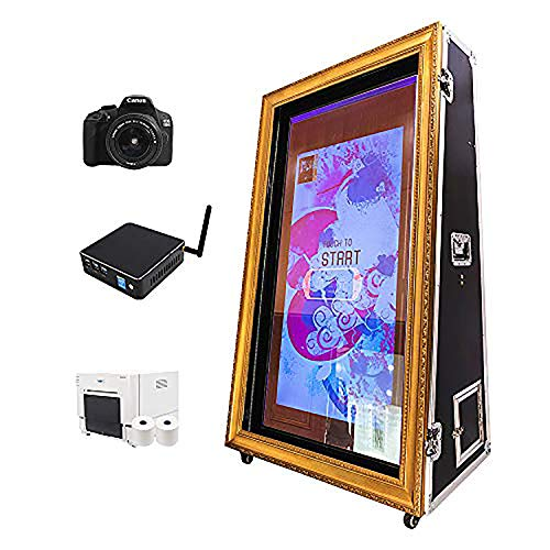 HIFOTO RIM650 65' Infrared Touch Screen Photo Booth, All in One Movable Mirror Booth Machine, with PC, Brand DSLR Camera and Printer