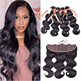 ALLRUN Body Wave Bundles With Frontal 13X4 Ear To Ear Lace Frontal With Bundles Unprocessed Brazilian Virgin Human Hair 4 Bundles Body Wave With Frontal (20 22 24 26+18 Inch)