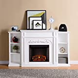 MISC White Bookcase Electric Fireplace Traditional Resin Wood Finish Adjustable Thermostat Energy Efficient