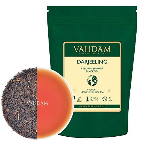 VAHDAM, foglie di tè nere Darjeeling dall'Himalaya - 255 grammi (120+ tazze), 100% puro certificato Darjeeling non miscelato, FTGFOP1 tè nero in foglia sfusa, dall'India