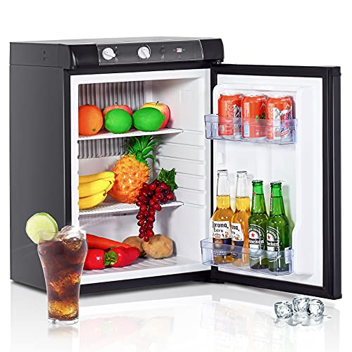 Techomey Propane Refrigerator 2.1 Cu.Ft, Camper Refrigerator 12 V/110V/GAS LPG, Quiet Rv Fridge 3 Way, for Semi Truck, Truck, Camper Van, Rv, Garage, Black