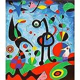 Póster e Impresiones de Arte de Pared de Acuarela Abstracta Famoso Cuadro de Lienzo de Joan Miro para la decoración del hogar de la Sala de Estar 40x50cm Q-1559