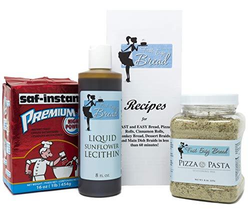 Homemade Pizza & Bread Bundle: Premium Instant Yeast, Liquid Sunflower Lecithin, and Pizza Pasta Seasoning to Make 44 Batches of Bread, Pizza, Cinnamon Rolls, etc.