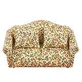 Ruby569y Accesorios de casa de muñecas para bricolaje, escala de madera 1:12 estilo rústico patrón floral muñeca casa sofá modelo para decoración - A