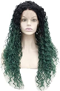 """Hairpieces Hairpieces Fashian European and American Chemical Fiber High Temperature Wire Wig Can Be Perm Dyed Green Long Curly Hair Hand-Woven Front Lace for Daily Use and Party (Size : 14"""")"""