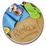 Relax Beach Scene Absorbent Stone Auto Car Cup Holder Coaster