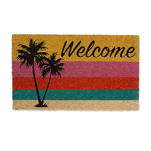 DII Home Natural Coir Doormat, Indoor/Outdoor, 18x30, Welcome Palm Tree