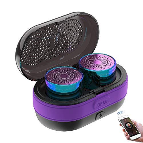Speaker-EJOYDUTY Mini-TWS-HiFi-Surround stereoluidsprekers met laadkoffer, Bluetooth 5.0 draadloze micro-luidspreker, voor smartphones, tablets, laptops