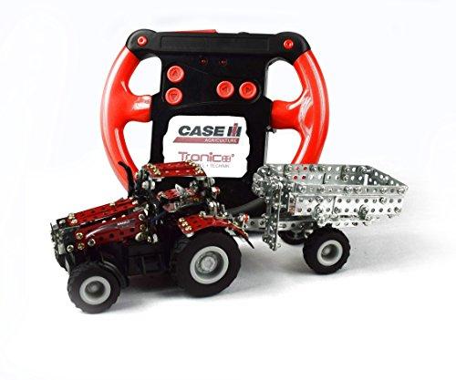 RC Traktor kaufen Traktor Bild 1: Tronico 09581 - Metallbaukasten Traktor Case IH Magnum 340 mit Kippanhänger und Fernsteuerung, Maßstab 1:64, Micro Serie, rot, 461 Teile*