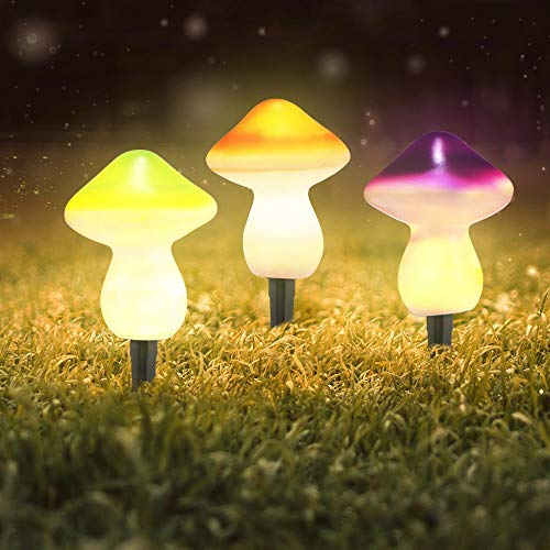 Mushroom Solar Light Outdoor, ALLOMN 9LED Lamp Lights Solar Landscape Lights IP44 Waterproof Two Light Modes, Solar LED Pa-th Light (2.4-Lumen Brighter) Colorful Set of 3 Lamps Mushrooms