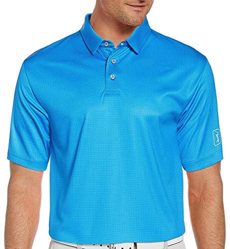 PGA TOUR Men's Printed Gingham Short Sleeve Polo Golf Shirt, Blue Sea Star, Large