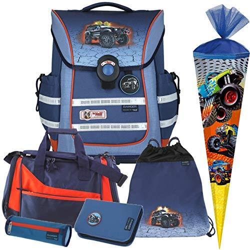Ranger - Monstertruck - McNeill Ergo Light Pure mit Blinklicht Schulranzen-Set 6tlg. mit SCHULTÜTE und Sporttasche