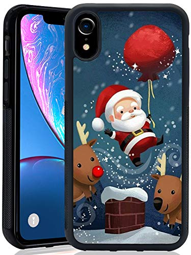 Case for iPhone Xr - Pumpkin Halloween Black Soft TPU Rubber &PC PC Anti-Scratch Lithe Shockproof Rubber Bumper Protective iPhone Xr Case (Christmas Santa Claus)