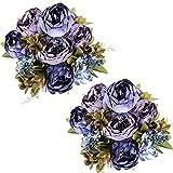 Tifuly 2 Piezas de Ramos de peonía Artificial, Ramo de Flores de imitación de peonías de Seda realistas para la decoración del Banquete de Boda en el hogar, arreglos Florales (Azul Vintage)