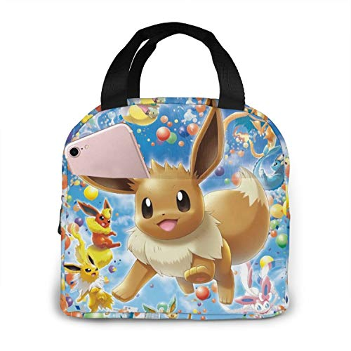 BHNGIFDWJJ Poke-mon Ee-v-ee Portable Insulated Lunch Tote Lunch Holder Food Organizer Layer Cloth Bag