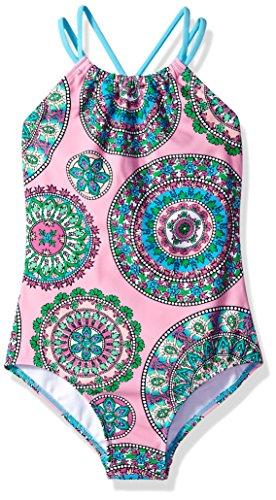 Kanu Surf Girls' Big Beach Sport Halter One Piece Swimsuit, Jasmine Pink, 10