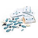 34 Teile Set maritime Tisch-Deko: 10 kleine Geschenkboxen blau weiß türkis + 12 Stück Deko-STREU FISCHE mit Klebepunkt + 12 mini STREU-Teile Fische, Anker, Steuerrad zur Taufe, Kinder-Geburtstag, …