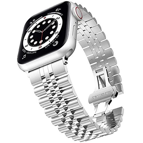Miimall Compatible con Apple Watch Correa de 44 mm 42 mm, acero inoxidable de primera calidad, con cierre de mariposa, para Apple Watch Series 6/SE/5/4/3/2/1 – Plata