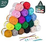 ilauke 20 x 30g Balls of Assorted Double Knitting Yarn, Colored Acrylic Yarn Set with 2 Crochet Hooks, 2...