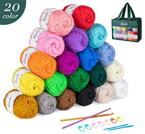 ilauke Häkelgarn 20 Farben Handstrickgarne Acryl Wolle Zum Stricken, Häkeln und Kunsthandwerk (3mm, 4 lagig)