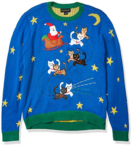 Blizzard Bay Men's Light up Reinkitty Ugly Christmas Sweater, Blue/Green, Large