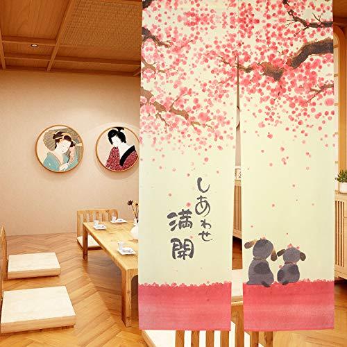 Cortina de puerta japonesa Noren para decoración del hogar, de LIGICKY, poliéster y mezcla de poliéster, Flor de cerezo,...