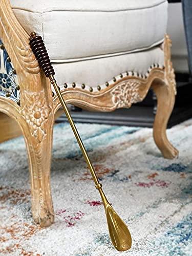 JeeKoudy Calçadeiras de aço inoxidável para homens, chifre de sapato com aderência confortável, chifre de sapato de metal com cabo longo acessório clássico de cavalheiro - A 47 x 4 cm