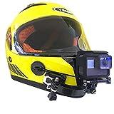 Linghuang Kit de Montaje Giratorio Soportes Adhesivos para Soporte de Montaje de Casco de Motocicleta para mentón para Gopro Hero 7 / (2018) / 6/5 Negro, 4 3 sesiones, dji Osmo Action, SJCAM EKEN