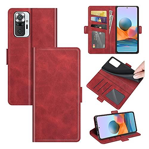AKC Funda Compatible para Xiaomi Redmi Note 10 Pro/Note 10 Pro MAX Carcasa Caja Case con Flip Folio Funda Cuero Premium Cover Libro Cartera Magnético Caso Tarjetero y Suporte-Rojo