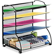 Auledio 5-Tier Mesh Desktop Organizer File Folder Document Letter Tray Holder Desk Accessories Organization Supplies for Office or Home, Black