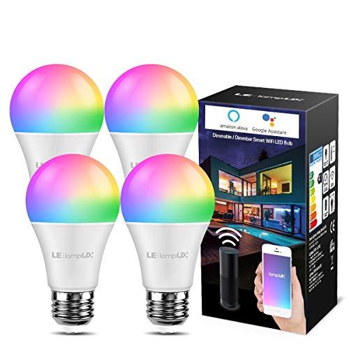 LE WLAN Lampe E27, 9 W Intelligente Glühbirne, WiFi, Alexa, 806 lm, RGB Farben mit Warmweiß, verbunden, WiFi, kompatibel mit Google Home Alexa, Kein Gateway erforderlich (4)