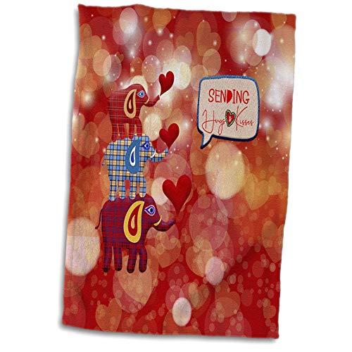 3dRose Beverly Turner Valentine Design - Image of Stacked Plaid Elephants and Hearts, Sending Hugs Heart Kisses - 15x22 Hand Towel (twl_306377_1)