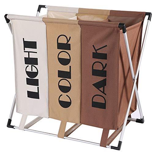 Wassorteerder 3 Vakken voor Donkere / Lichte & Gekleurde was – 90 Liter – Opvouwbaar frame -Wasmand 3 Vakken – Badkamer…