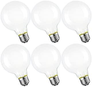 Dimmable LED Globe Light Bulb, G25 Shape, White Frosted Glass, 60W Equivalent, 5000K Daylight, E26 Standard Base, UL Listed,Vanity Makeup Mirror Lights Bulb, 6-Pack