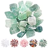 Rustark 1lb Natural Fluorite Crystal Green Rock Large 1' Raw Fluorite Stone Chakra Stones Bulk Reiki Crystals Healing for Home Indoor Decorative, Gift,Guide, Jewelry Making (Green Fluorite)