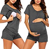 Ekouaer Womens Maternity Loungewear Nursing Nightgown Hospital Sleep Set Comfortable Postpartum Pajama Top and Bottom Set Grey L