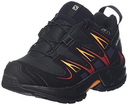 Salomon XA Pro 3D CSWP J, Zapatillas de Deporte para Niños, Negro/Naranja (Black/Black/Fiery Red), 26 EU