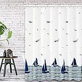 Duschvorhang, Vivibel Anti-Schimmel Duschvorhänge Textil Bad Vorhang aus Polyester, Waschbar Wasserdichter Badezimmervorhang mit 12 Edelstahlhaken Shower Curtains für Badewanne, Bathroom, Badezimmer