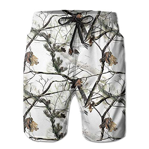 flys White Realtree Camo Men's Beach Shorts Elastic Waist Pockets Lightweight Swimming Board Short Quick Dry Short Trunks,2XL