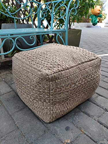 RISEON Boho Hand WovenContemporary Cotton LinenFabric Pouf Cover Footstool Ottoman Poufs Unstuffed-Square Floor Cushion Footrest Cover for Living Room, Bedroom and Under Desk (Dark Coffee)