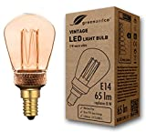 Bombilla LED greenandco® decorativa estilo vintage antiguo Edison E14 ST45 2W 65lm 1800K (blanco extra cálido) 320° 230V vidrio, sin parpadeo, no regulable