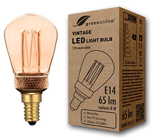greenandco® Vintage Design LED Lampe im Retro Stil zur Stimmungsbeleuchtung E14 ST45 Edison Glühbirne, 2W 65lm 1800K extra warmweiß 320° 230V flimmerfrei, nicht dimmbar, 2 Jahre Garantie
