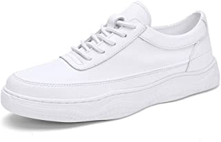 XUJW-Shoes, Fashion Sneaker for Men Sports Shoes Lace Up Style PU Leather Soft Round Toe Solid Colors Easy Care Durable Comfortable Walking Shopping Travel Driving (Color : White, Size : 5.5 UK)