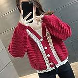 ZXCHB Juegue de mujer Cardigan otoño, chaqueta de punto femenino de lentes femenino y abrigo de suéter de otoño (Color : Red, Size : XL code)