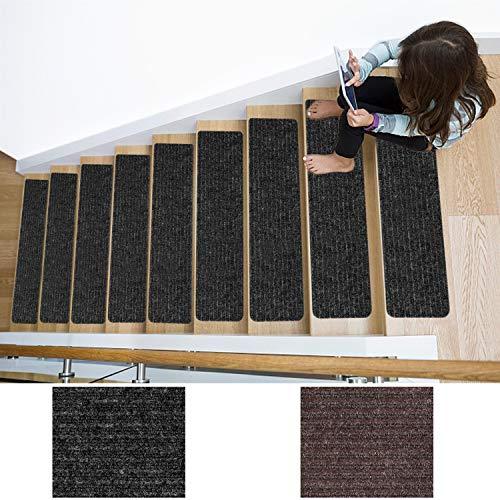 Stufenmatten Anti-Rutsch Teppich – Set von 13 Stufen Indoor rutschfeste und rutschfeste Matten – Gummierte Rückseite Treppenmatte – Hartboden Treppenschutz Gerät – 76,2 x 20,3 cm, Anthrazit